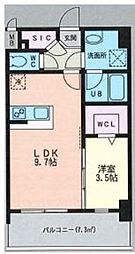 ルッシェ天神東 S棟 5階1LDKの間取り