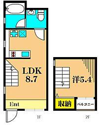 corridor 1階1LDKの間取り
