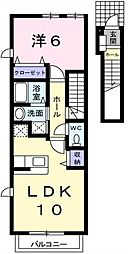 埼玉県越谷市神明町1丁目の賃貸アパートの間取り