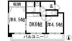 兵庫県宝塚市南ひばりガ丘1丁目の賃貸マンションの間取り