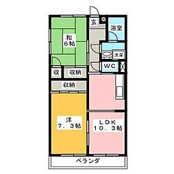 竜美丘東山ハイツ[1階]の間取り