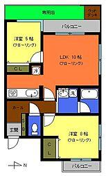 東京都府中市若松町4丁目の賃貸マンションの間取り