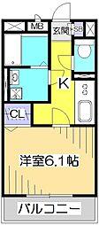 東京都国分寺市日吉町4丁目の賃貸アパートの間取り