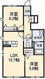 岡山県岡山市南区芳泉4丁目の賃貸アパートの間取り