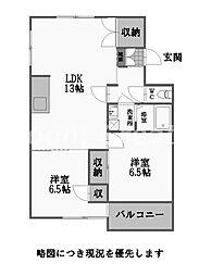 徳島県徳島市国府町和田の賃貸マンションの間取り