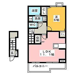ブリーズハウス 2階1LDKの間取り