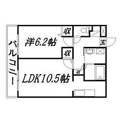 静岡県浜松市中区田町の賃貸マンションの間取り