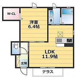 シャーメゾン稲田本町A[1階]の間取り