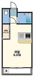 ラパン吉尾 2階ワンルームの間取り