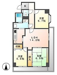 愛知県名古屋市東区葵3丁目の賃貸マンションの間取り