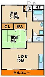 兵庫県明石市硯町2丁目の賃貸マンションの間取り