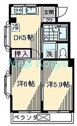 アパートメントハウス 3階2DKの間取り