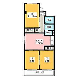 コスモハイツIII[3階]の間取り