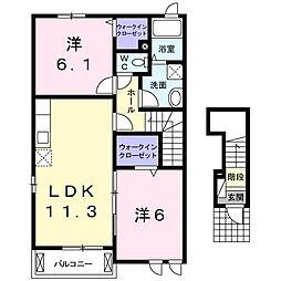 福岡県春日市須玖南1丁目の賃貸アパートの間取り
