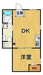 神明町へーベルメゾン 1階1DKの間取り