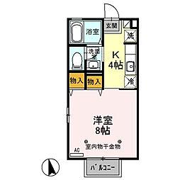 栃木県小山市西城南4の賃貸アパートの間取り