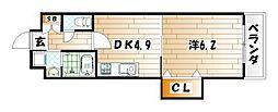 戸畑駅前銀座ビル[4階]の間取り