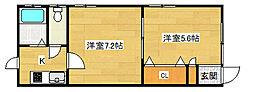 兵庫県神戸市中央区下山手通8丁目の賃貸アパートの間取り