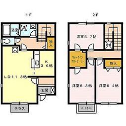 [テラスハウス] 静岡県浜松市西区雄踏1丁目 の賃貸【/】の間取り