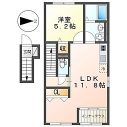 JR京浜東北・根岸線 洋光台駅 バス6分 洋光台6丁目下車 徒歩1分の賃貸アパート 2階1LDKの間取り