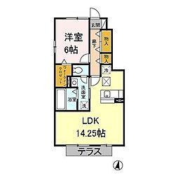 神奈川県相模原市緑区久保沢1丁目の賃貸アパートの間取り