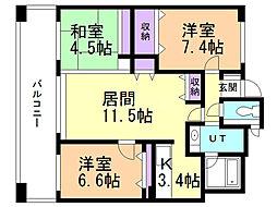 アパガーデンパレス札幌駅西 1階3LDKの間取り