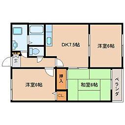 奈良県大和高田市神楽3丁目の賃貸アパートの間取り