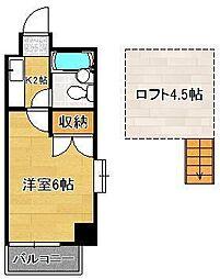 ロイヤルシャトー黒崎 8階1Kの間取り