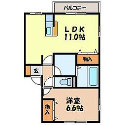 長崎県諫早市平山町の賃貸アパートの間取り