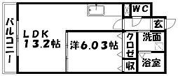 サナルダイヒルズ桜坂[201号室]の間取り