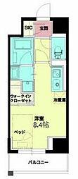 Osaka Metro千日前線 西長堀駅 徒歩5分の賃貸マンション 8階ワンルームの間取り