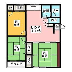 パルコート山本[2階]の間取り