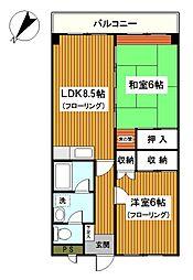 内田マリンハイツ[303号室]の間取り