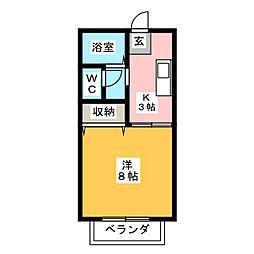 セジュール高畑[1階]の間取り