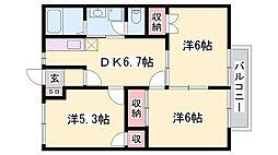 シャルマンS&T 2階3DKの間取り