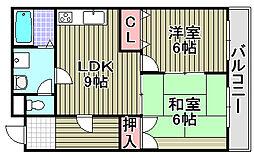 大阪府和泉市伏屋町2丁目の賃貸マンションの間取り