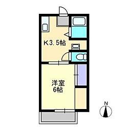 アンダンテ福井[B205号室]の間取り