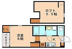 福岡県福岡市博多区那珂6丁目の賃貸アパートの間取り