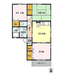 東京都小平市大沼町3丁目の賃貸アパートの間取り