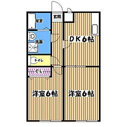 東京都あきる野市二宮の賃貸アパートの間取り