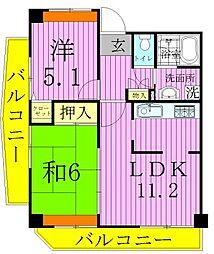 コーポレート竹ノ塚二丁目[4階]の間取り