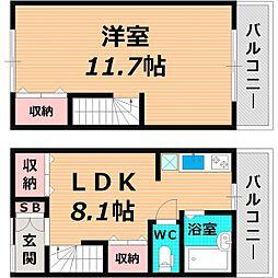 Osaka Metro長堀鶴見緑地線 蒲生四丁目駅 徒歩8分の賃貸テラスハウス 1階1LDKの間取り