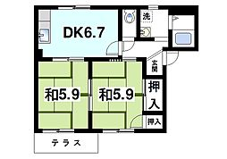 フレグランスU A 1階2DKの間取り
