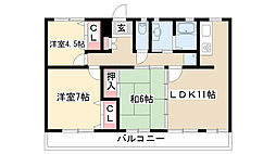 愛知県名古屋市瑞穂区彌富通1丁目の賃貸マンションの間取り