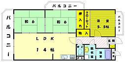 サンシャイン三苫Ⅱ[3階]の間取り