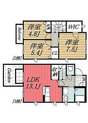 [タウンハウス] 千葉県千葉市若葉区小倉台5丁目 の賃貸【/】の間取り