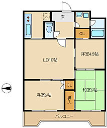 兵庫県尼崎市西昆陽1丁目の賃貸マンションの間取り