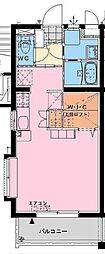 Mero-Battie 1階ワンルームの間取り