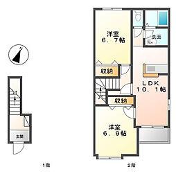 ラ・グラシーヌII[2階]の間取り
