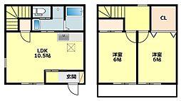 [タウンハウス] 愛知県岡崎市大門2丁目 の賃貸【愛知県 / 岡崎市】の間取り